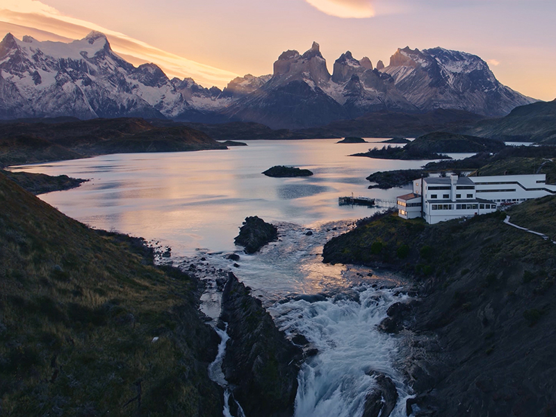 Aerial view of Torres del Paine, a luxury hotel in Chile