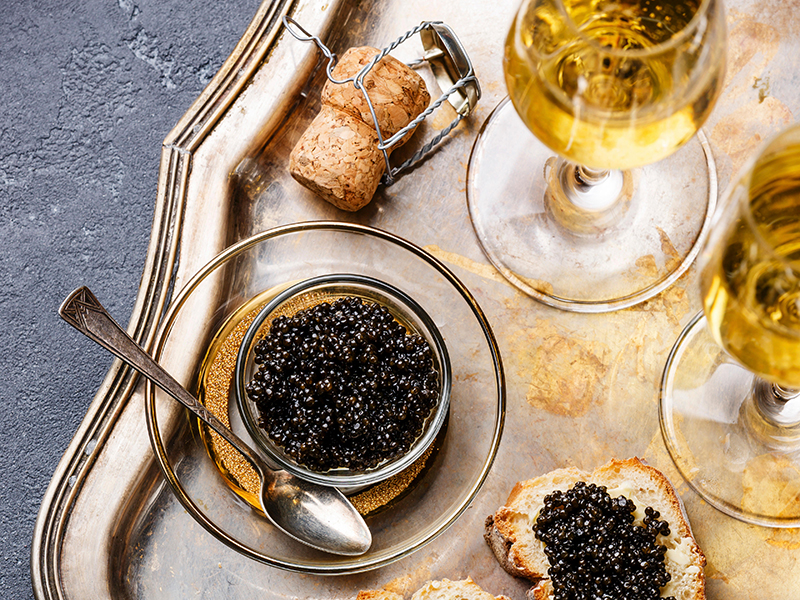 Sparkling wines for Thanksgiving goes well with appetizers such as caviar (pictured)