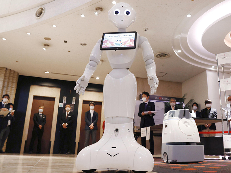 A service robot in a Japanese hotel lobby