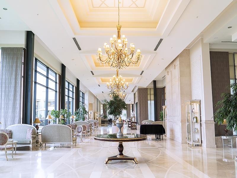 A luxury hotel lobby