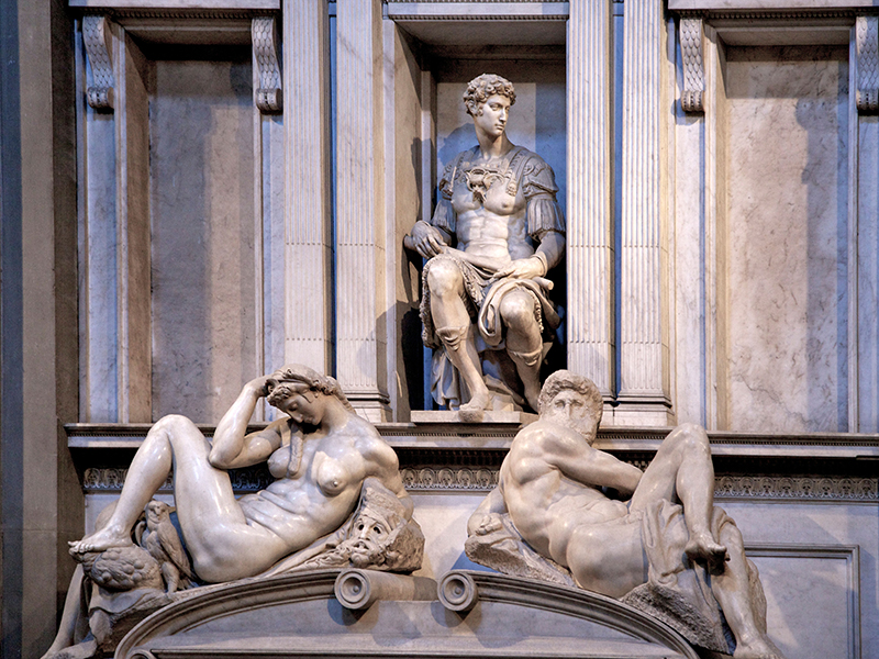 Tomb of Giuliano de Medici marble sculpture by Michelangelo, Medici Chapel, San Lorenzo, Florence, Tuscany,