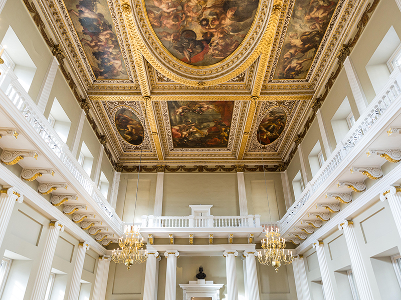 Banqueting Hall,view up to ceiling by Peter Paul Rubens, Palladian style, Banqueting House, Whitehall, Westminster, London, UK