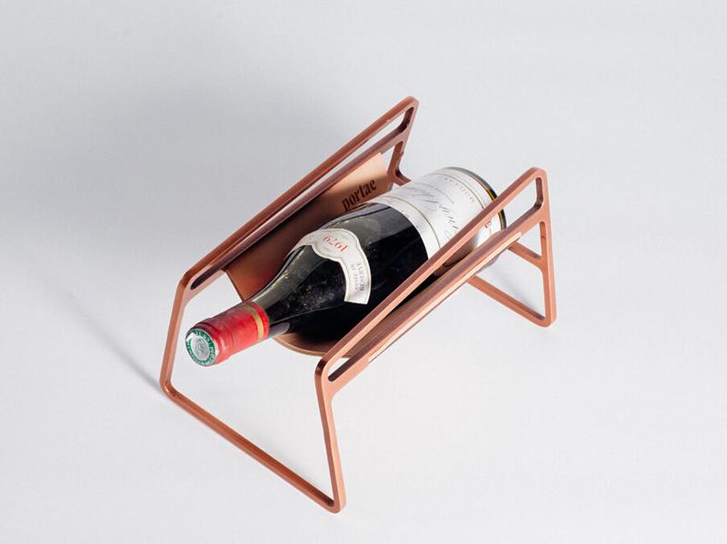 Rose gold Portae wine cradle