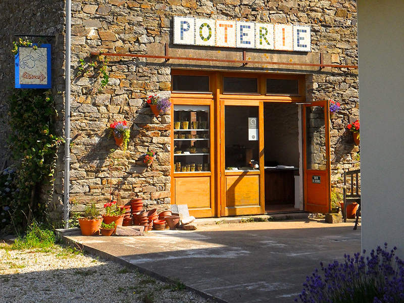 Outside view of rustic barn and pottery studio