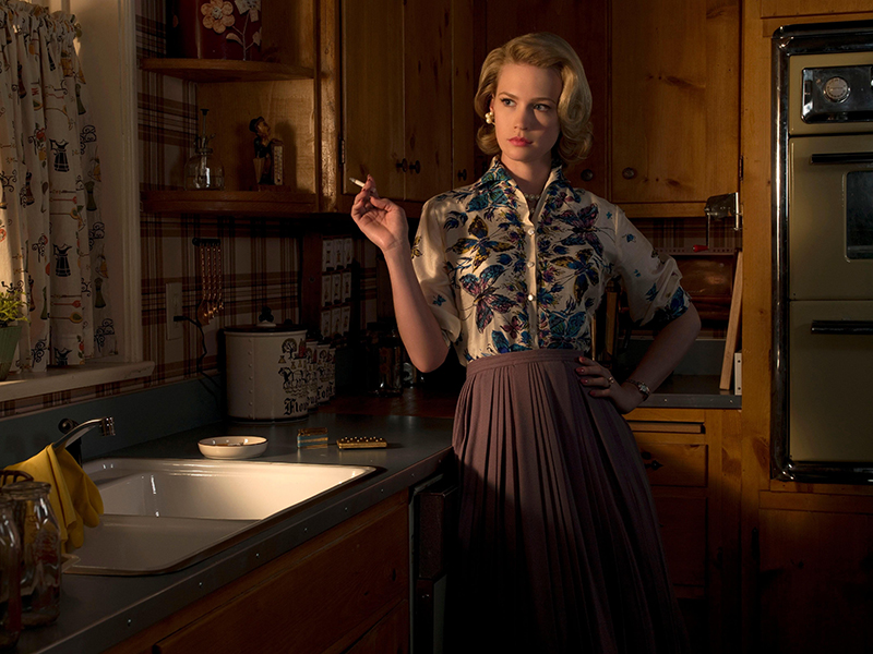 Betty Draper in her kitchen on the Mad Men set