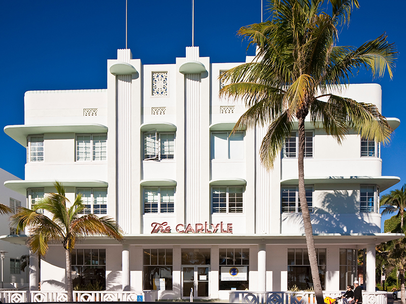 The exterior of The Carlyle Hotel in South Beach, Miami