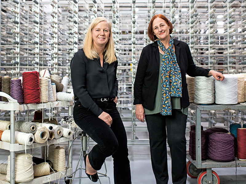 Catherine Connolly (left) and Barbara Schnegg of natural carpet company Merida