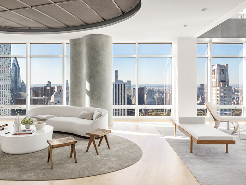 View over Manhattan from a minimalistic penthouse sitting room