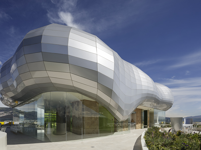 The modern metal dome atop Yoo Quito's penthouse