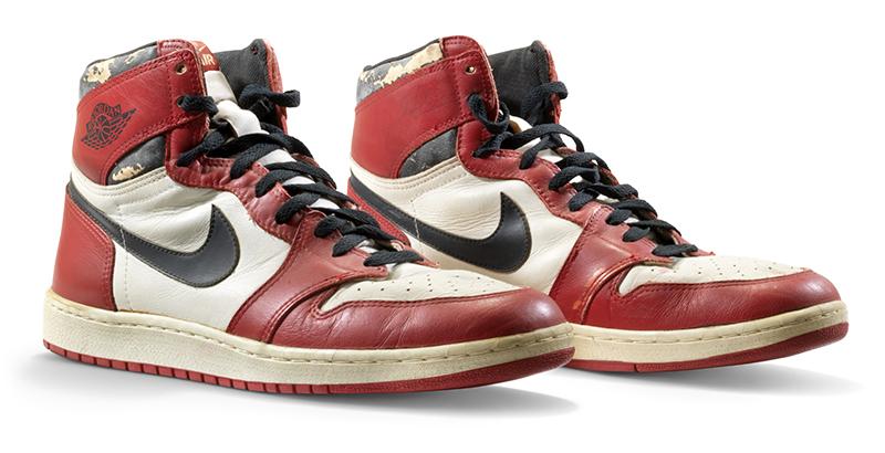 A red and black pair of Air Jordan 1s