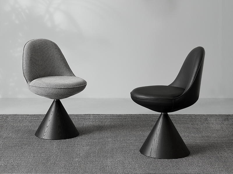 Designer geometric chair with cone base
