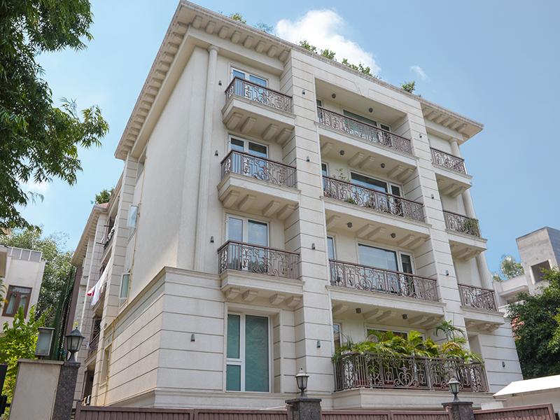 A classic white apartment building