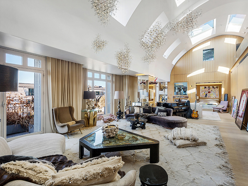 A luxurious penthouse apartment sitting room with a domed roof