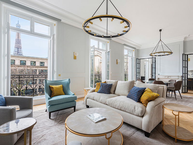 Prime real estate in Paris is apartments such as this one, with a view of the Eiffel Tower