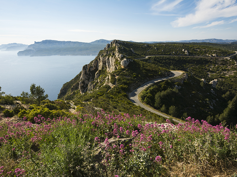 A hill overlooks the coastline of the Cote d'Azur in Southeastern France