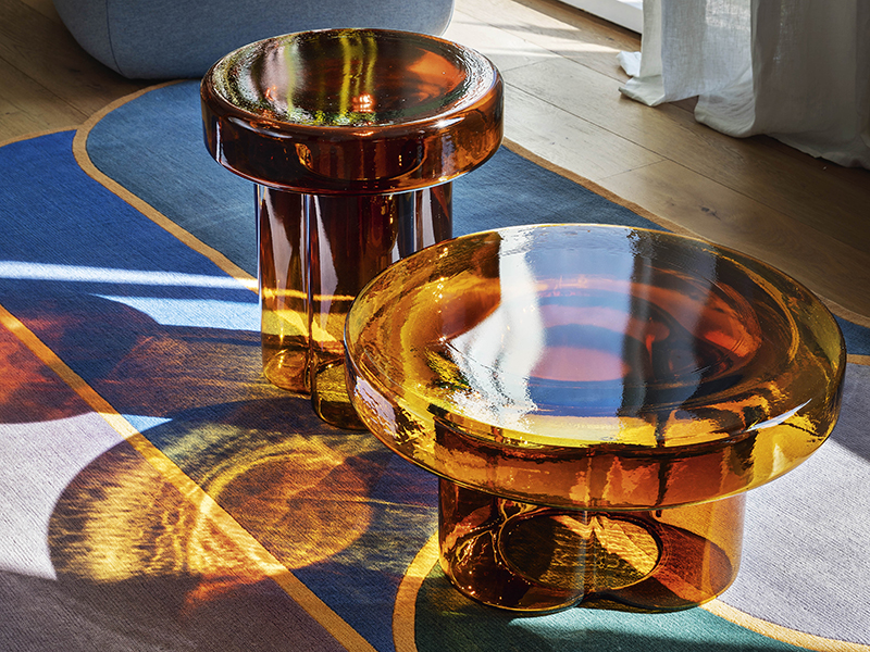 Glass coffee tables in living space