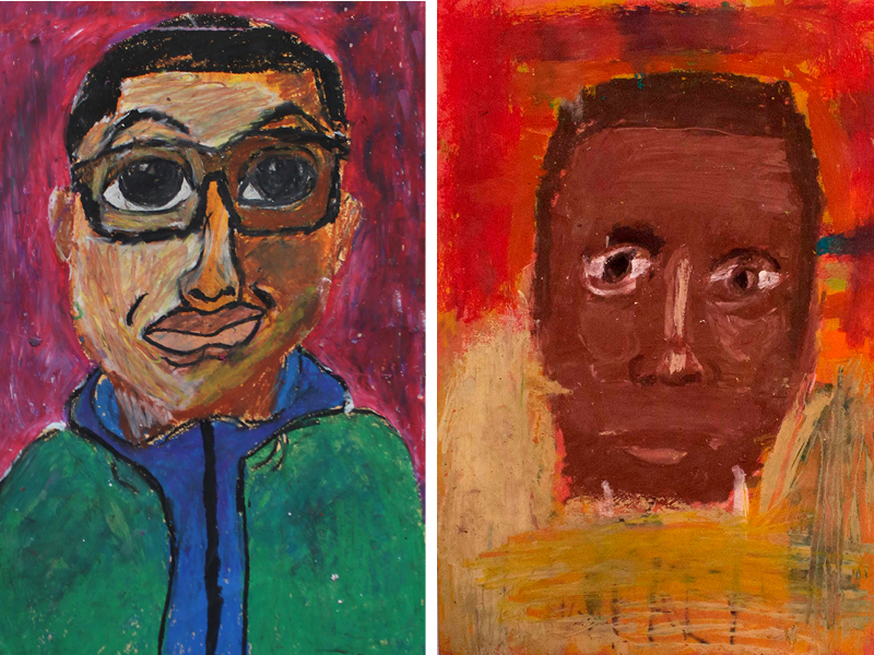 Two self portraits of young boys