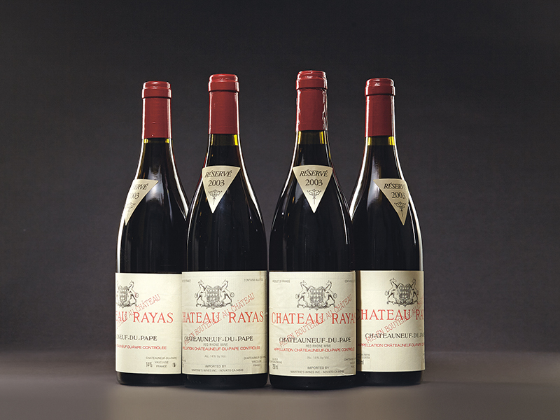 Twelve bottles of one of the greatest winFour bottles of Château Rayas Châteauneuf-du-Pape 2003