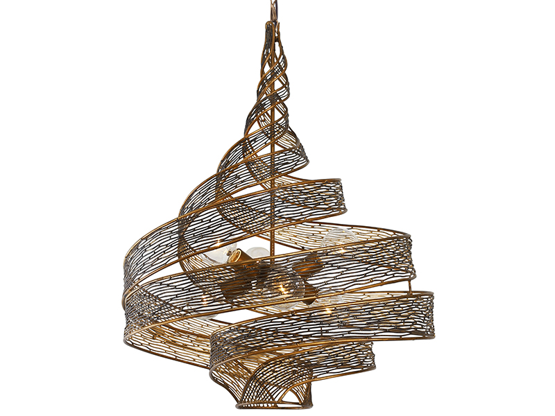 A twisting metal chandelier by Varaluz