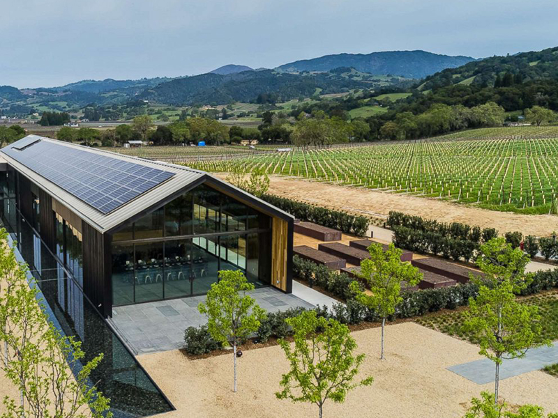 Aerial view of the Silver Oak tasting room and its solar panels