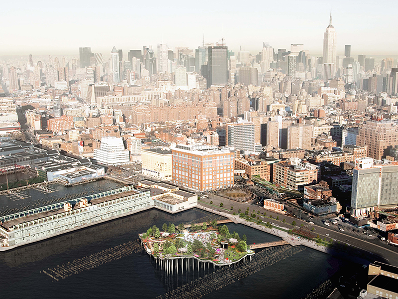 An aerial view of little island park and the Manhattan skyline