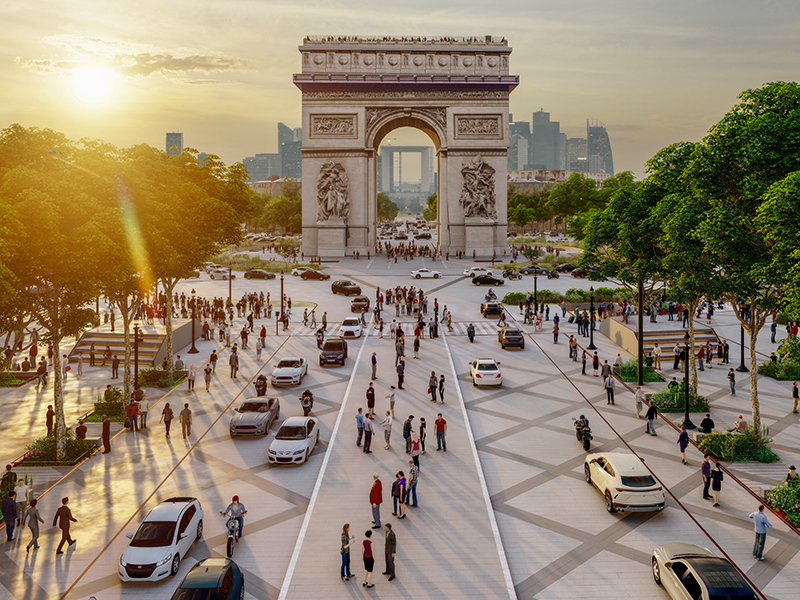 Public spaces such as the Champs-Élysées (seen here with a view of the Arc de Triomphe at Sunset) are being redesigned by top architects