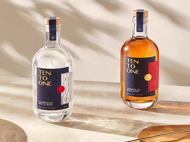 Two bottles of Ten To One rum bottles – perfect for people collecting rum
