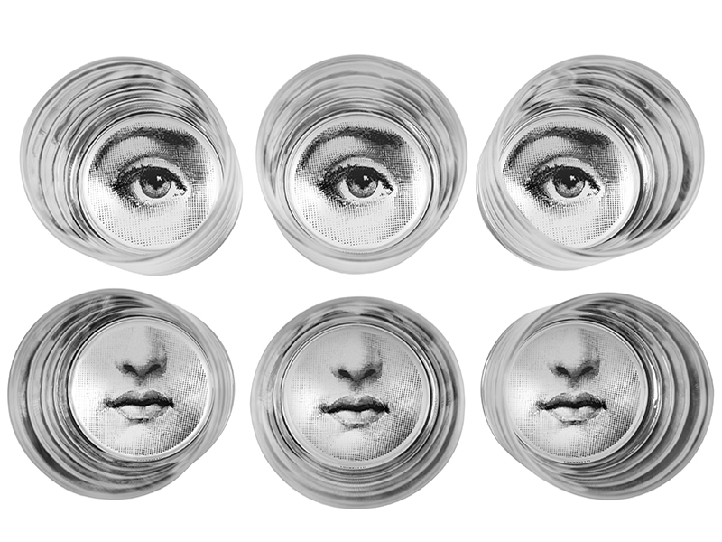 Set of six glasses designed with the eyes and mouth of an Italian opera singer––perfect for entertaining at home