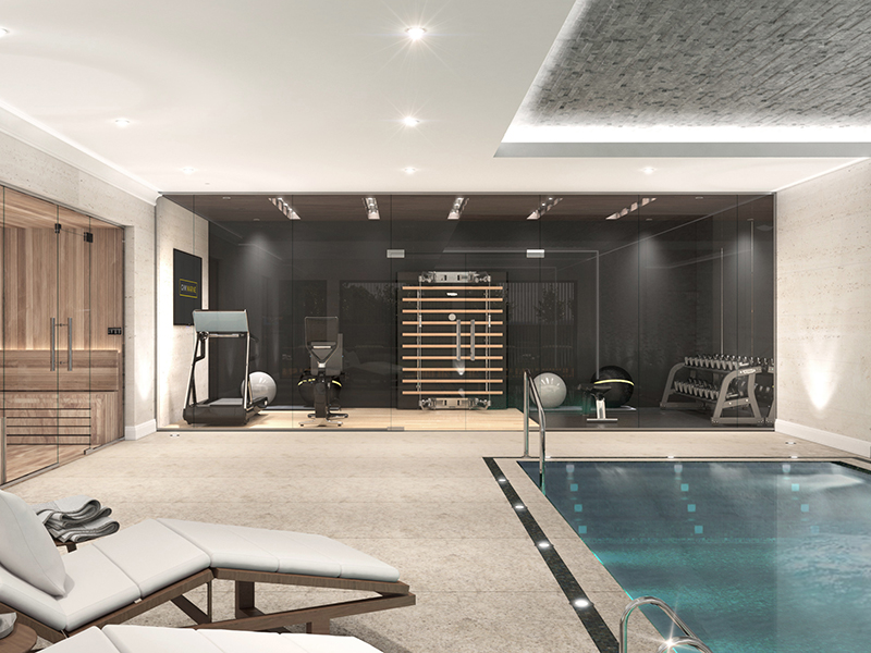 A render of a home gym, sauna and indoor pool