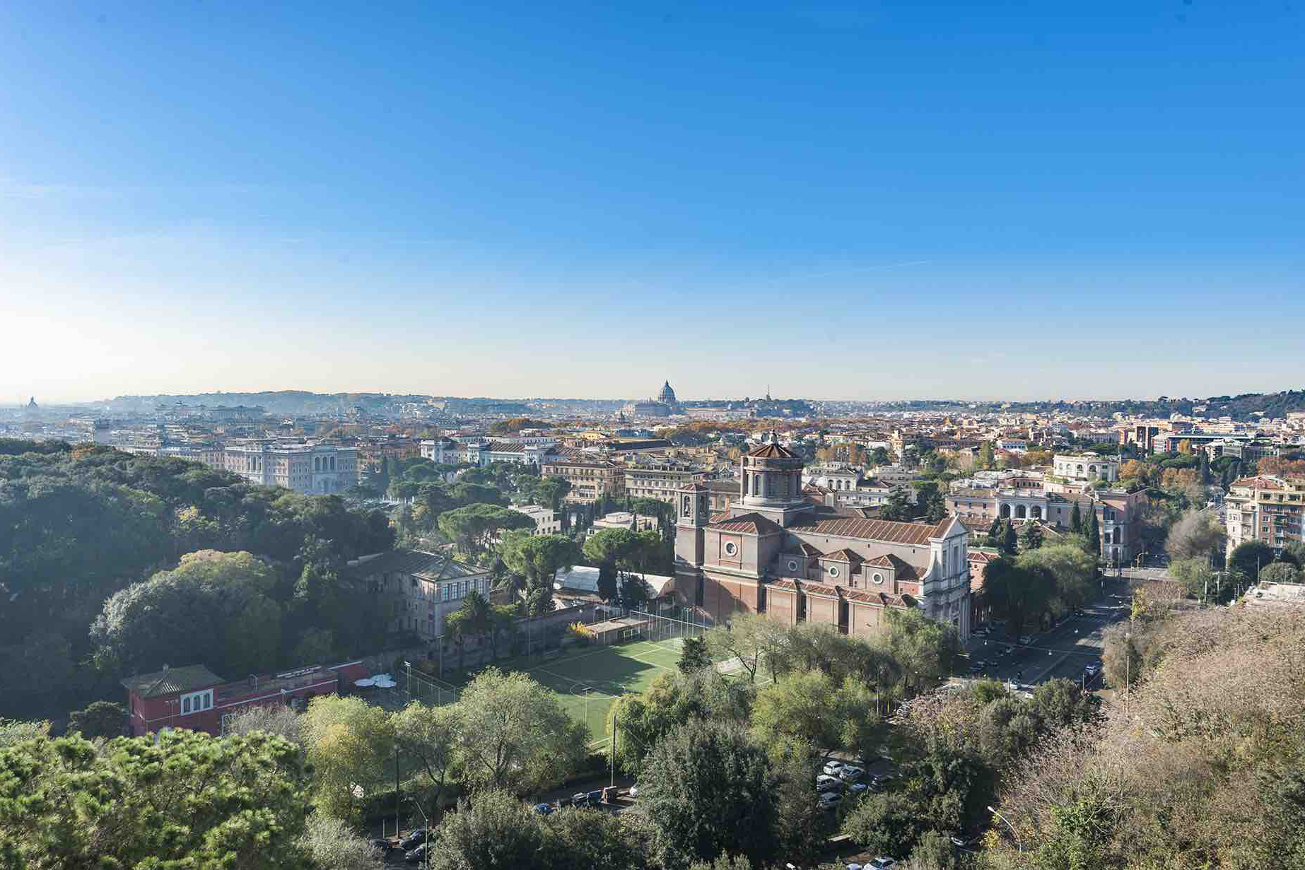 An aerial view of a historical villa, prime real estate in Rome, Italy