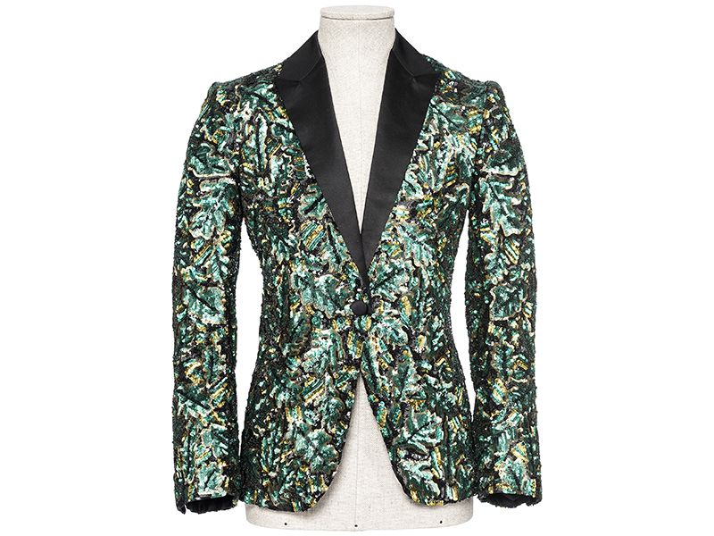 A sequinned green and black dinner jacket