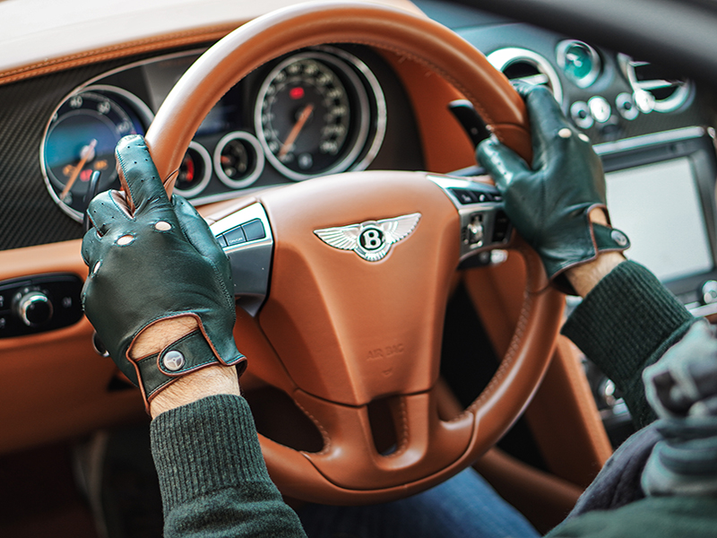 Leather driving gloves on steering wheel