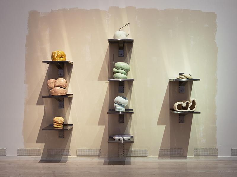 A display of artisanal craft ceramics by artist Erika Stöckel