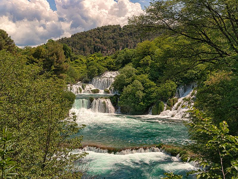 Waterfalls at Krka National Park, possible to see when sailing Croatia