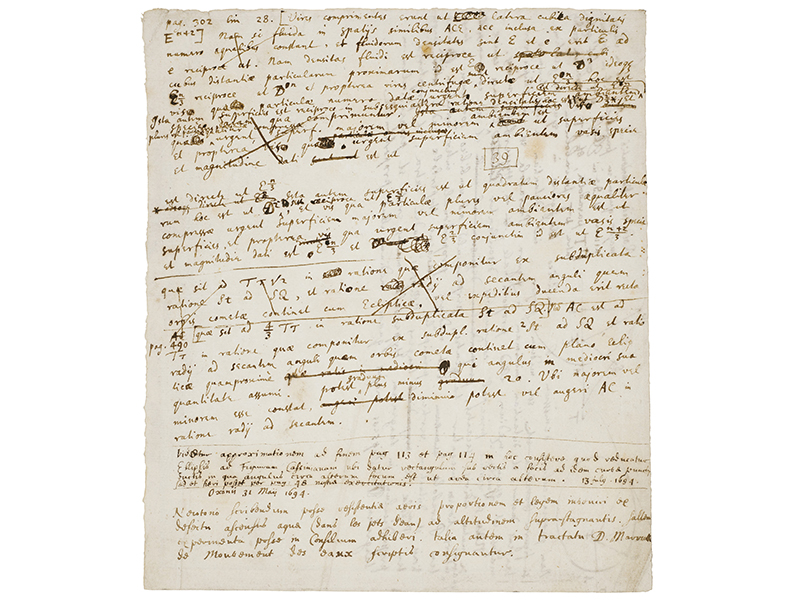 A manuscript filled with writing by SIr Isaac Newton