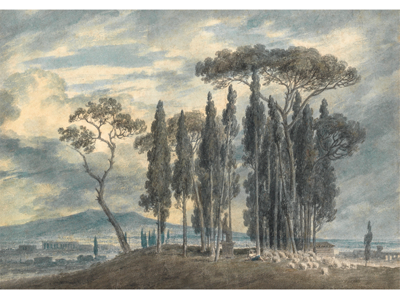 A painting of cyprus trees on a hill with storm clouds in the background by John Robert Cozens