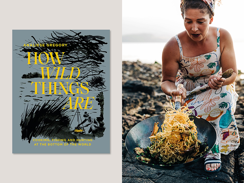 Chef Analiese Gregory pictured cooking on a beach for one of our top new cookbooks