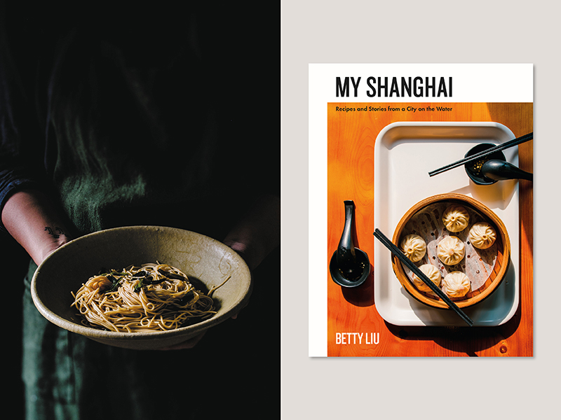 Cookbook cover of My Shanghai and a plate of noodles