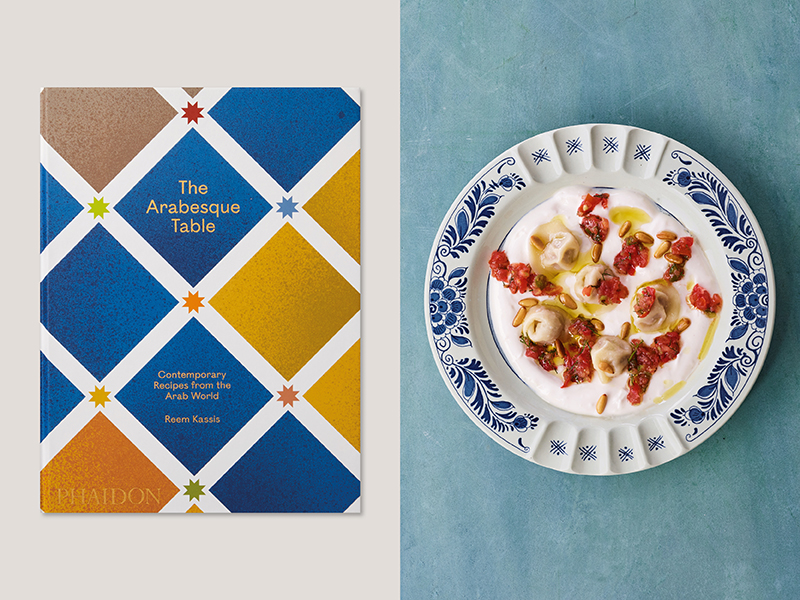 Cookbook cover of the Arabesque table and a dish of lamb dumplings