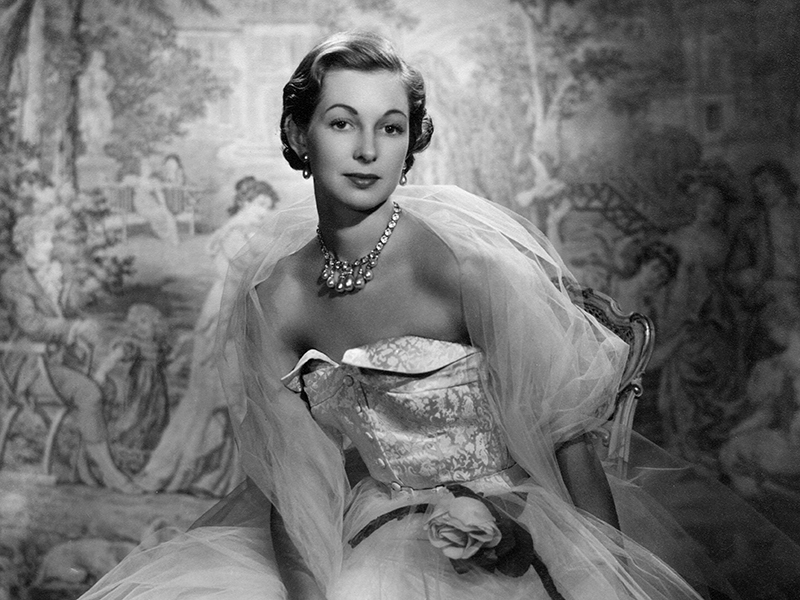 A black and white portrait of Gloria, dowager countess Bathurst