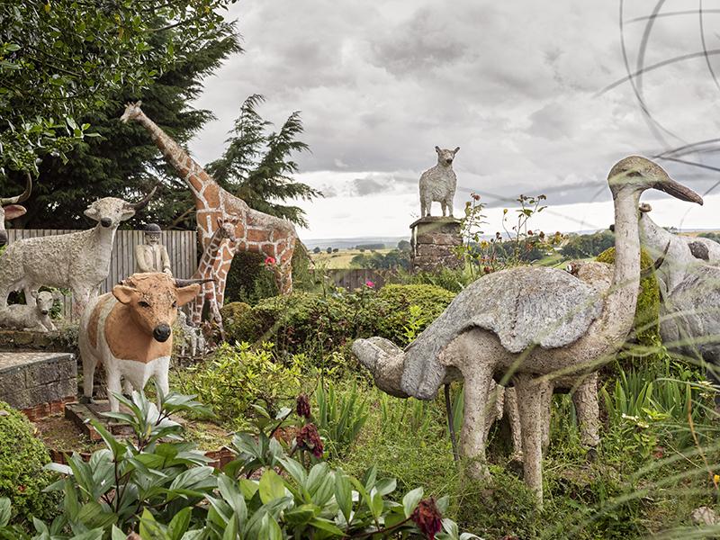 Concrete animals in garden