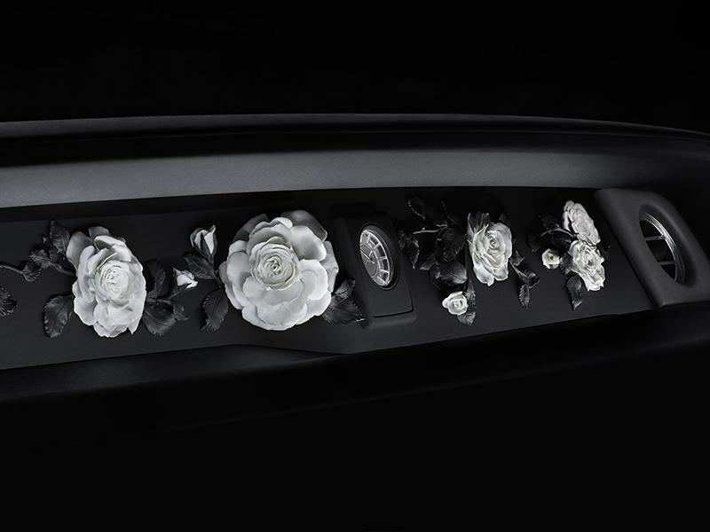 Ceramic roses in the dashboard of a Rolls-Royce premium car