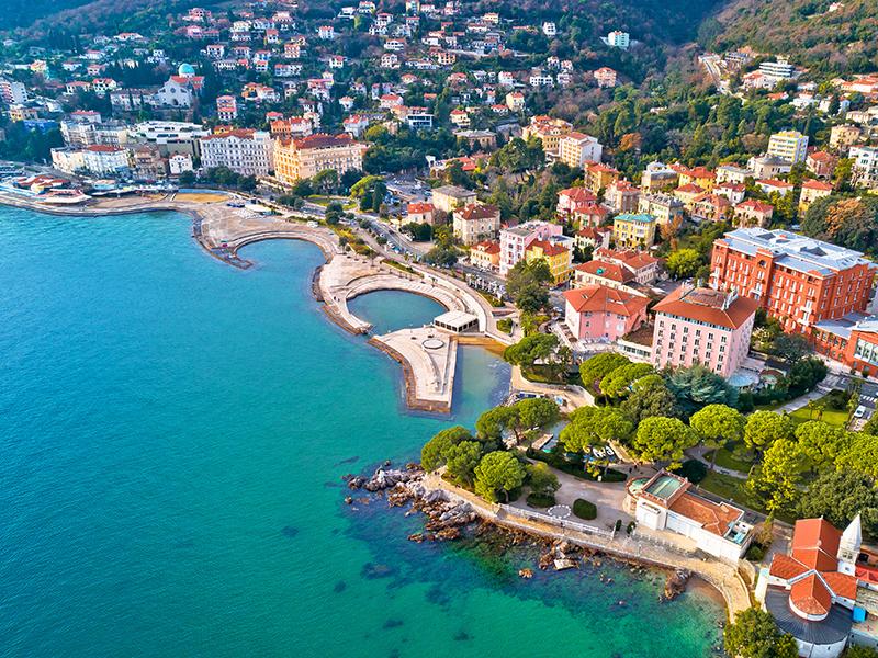 Scenic coastline of Opatija and Slatina beach aerial view,