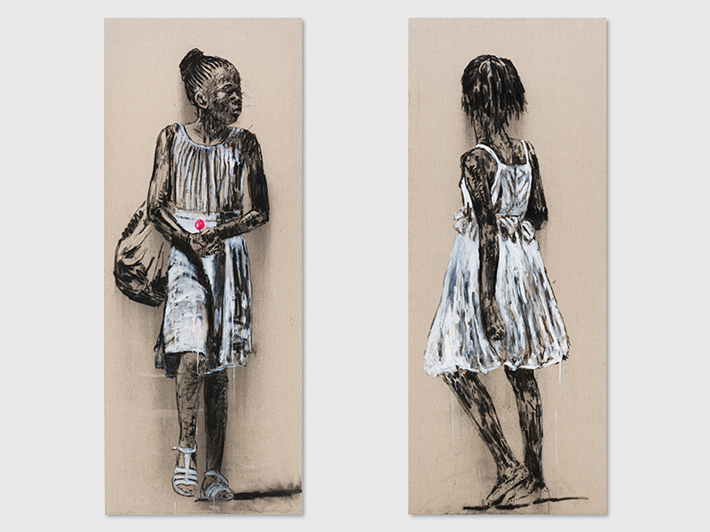 Charcoal portraits of a young girl by Nelson Makana, works that are on sale in Christie's art auction