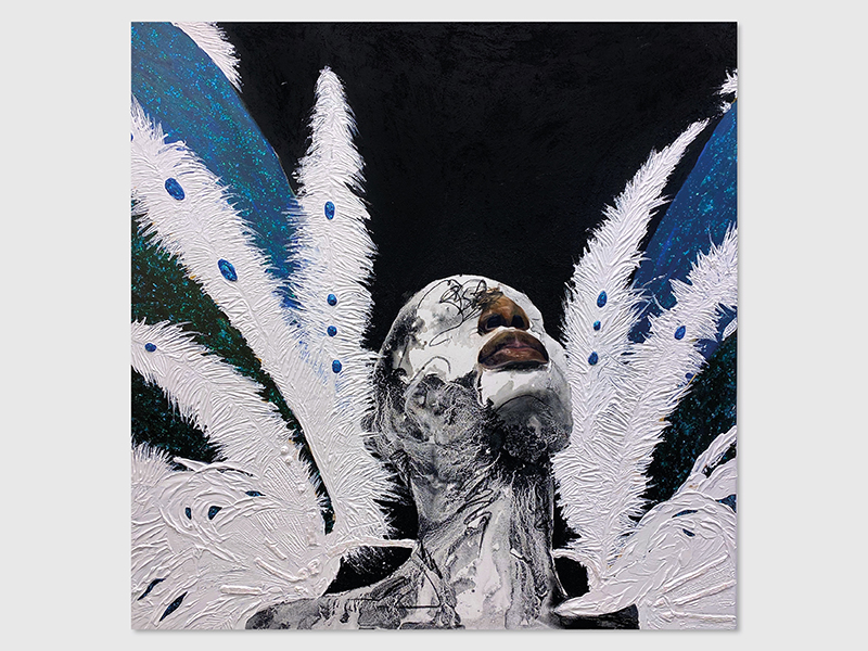 An abstracted portrait of a black person with wings in the background by Khari Turner