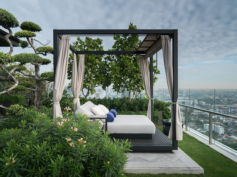 Bed on the rooftop