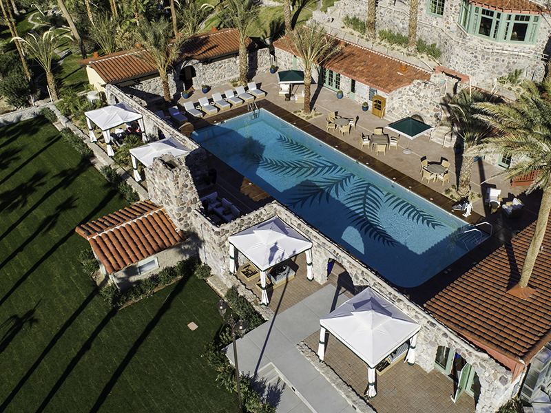 Aerial view of the pool at The Oasis