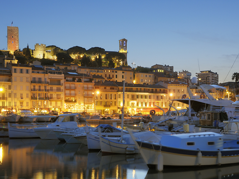 Panorama of Cannes, at dusk.