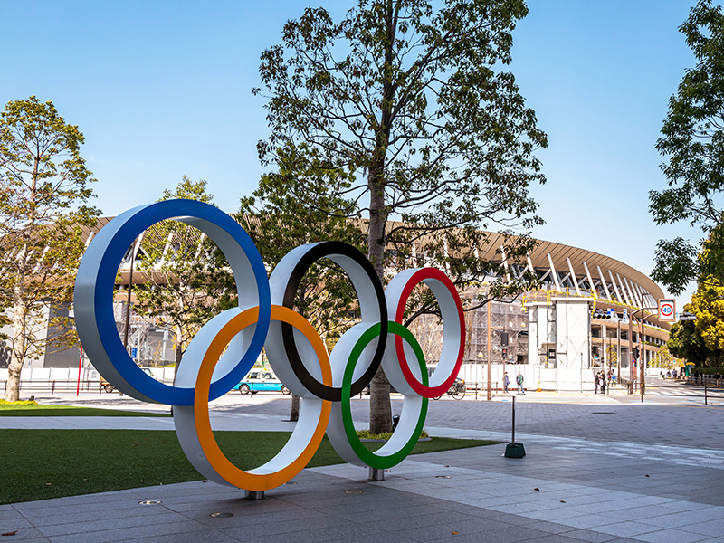 Olympic rings in front of Tokyo's national stadium