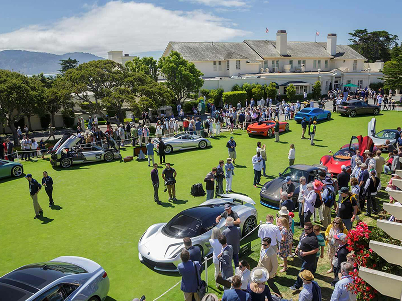 Sports cars lined up at the Pebble Beach Concours
